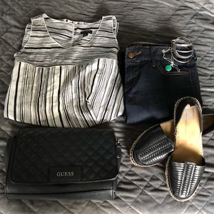 Ann Taylor flowing tank with side slits b&w